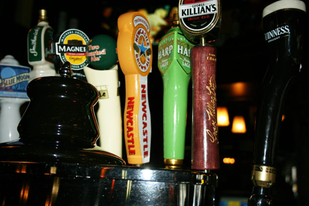 closeup of bar taps